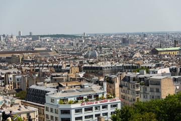 Skyline of Paris on bright summer day