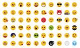 Complete flat emoji set poster