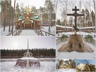 Ganina Yama cathedral and Nicholas II statue and obelisk and yek