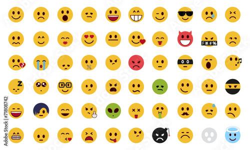 Zdjęcia na płótnie, fototapety, obrazy : Complete flat emoji set
