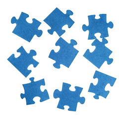 Blue pieces of jigsaw puzzle