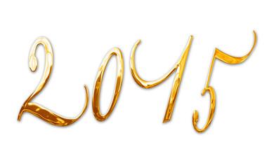 2015, elegant shiny 3D golden metal letters