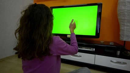 Girl do smart TV touchless touchscreen gestures
