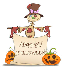 Funny scarecrow, pumpkins and Halloween