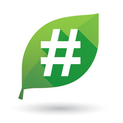Green leaf icon with a  hastag