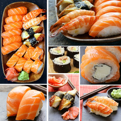 Set different kinds of Japanese sushi and rolls