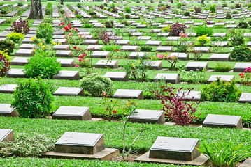 Tombstones in the cemetery, Thailand