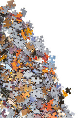 Pile of color jigsaw pieces