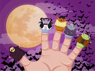 Five finger monsters halloween