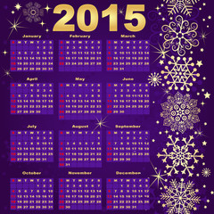 2015 New Year violet-Gold Calendar