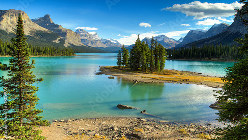 In de dag Canada Spirit Isalnd in Maligne Lake