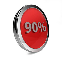 Ninety percent circular icon on white background