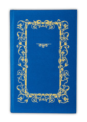 Vintage book cover blue isolated on white