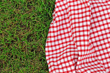 checkered plaid for picnic on green grass © dream79