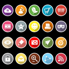 Internet useful flat icons with long shadow