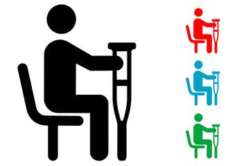 Pictograma hombre con muleta sentado con varios colores