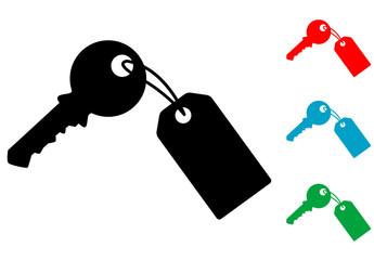 Pictograma llave con etiqueta con varios colores