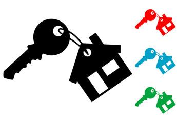 Pictograma llave con llavero de casa con varios colores