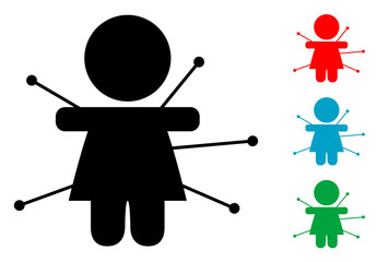 Pictograma muñeca de vudu con varios colores