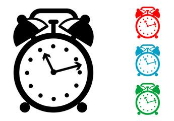 Pictograma reloj despertador con varios colores