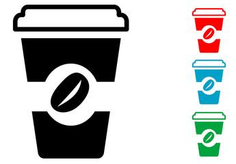 Pictograma vaso de cafe con varios colores