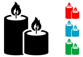 Pictograma velas de navidad con varios colores