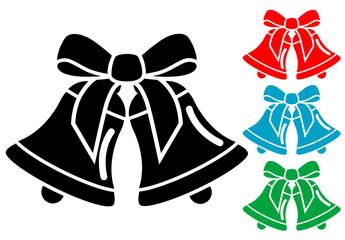 Pictograma campanas de navidad con varios colores