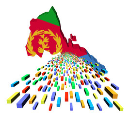 Eritrea map flag with containers illustration