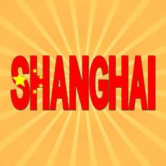 Shanghai flag text with sunburst illustration