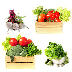 Set vegetables in wooden box, lettuce salad and beetroot