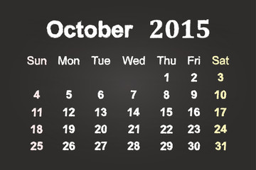 October Month 2015 Calendar On Blackboard