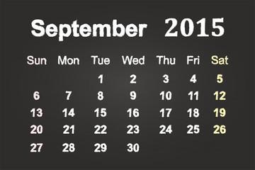 September Month 2015 Calendar On Blackboard