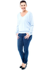 Smiling female model in trendy casuals