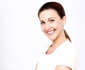 Smiling middle aged caucasian woman