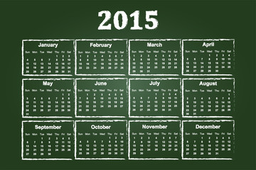Calendar Of Year 2015 On Green Chalkboard