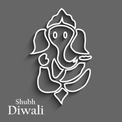 Diwali card colorful artistic Lord Ganesha design