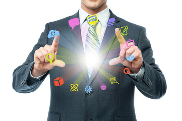 Businessman showing colorful icons on air