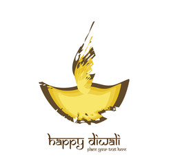Happy diwali diya artistic colorful grunge creative vector illus