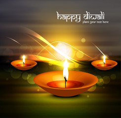 Happy Diwali fantastic diya glowing celebration background illus