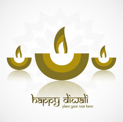 Vector Illustration of artistic Diwali diya reflection card desi