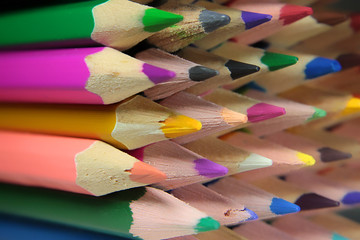 Leads of bright colored pencils