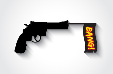 Firing gun with the Bang flag, flat style
