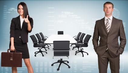Businesswoman and businessman