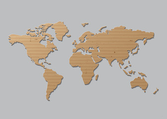 vector World map  Brown Cardboard