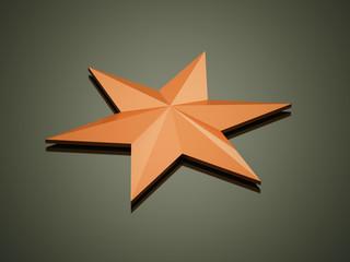 Orange star rendered on dark