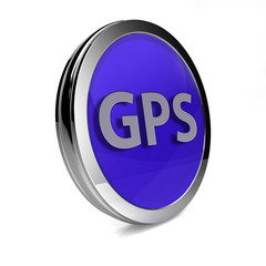 Gps circular icon on white background