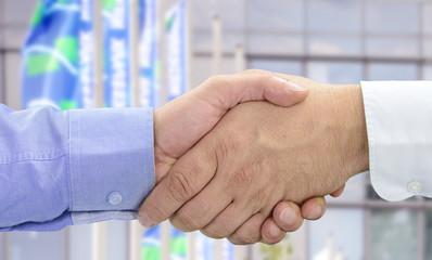 Hände beim Vertragsabschluss vor Fahnen