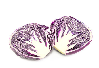 Closeup red cabbage isolated on a white