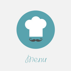 Big chef hat mustache in the circle Menu icon Flat