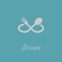 Fork, spoon infinity sign. Menu card. Flat design